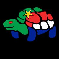 Logo de K-Z peinture représentant une tortue aux couleurs de l'Algérie et de la France avec en dessous le nom de l'entreprise.