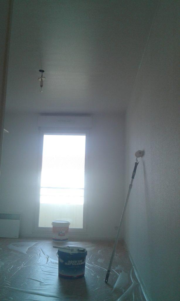 Toile de verre peinte, avec un rouleau à peinture en appuie sur le mur et un pot de peinture et un pot de colle sont posés sur le sol. Une bâche protège le sol.