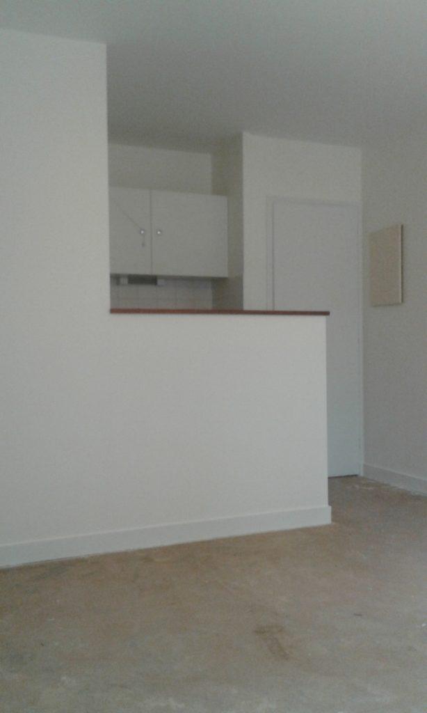 Petite cuisine avec passe plat aux murs et plafond blancs